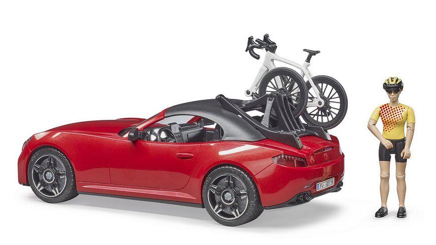 BRUDER Roadster mit Rennrad und Radfahrerin 03485