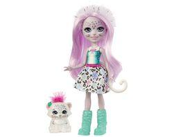 Enchantimals Sybill Snow Leopard Puppe ca 15cm und Flake Tierfreund Figur
