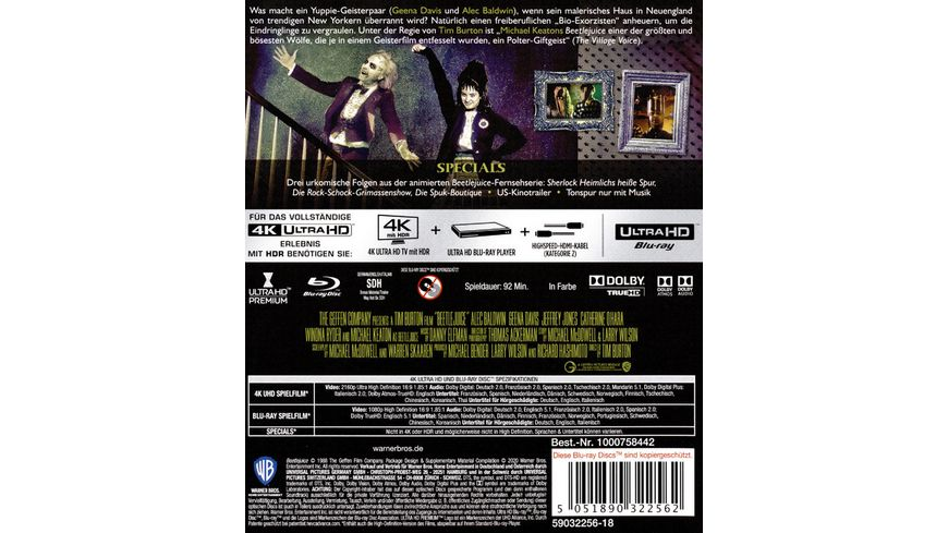 Beetlejuice 4K Ultra HD Blu ray 2D