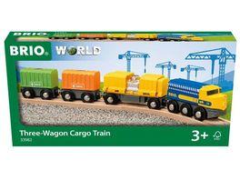 BRIO Bahn Gueterzug mit drei Waggons