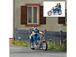 BUSCH 7860 H0 Action Set US Motorrad mit Bikerpaerchen