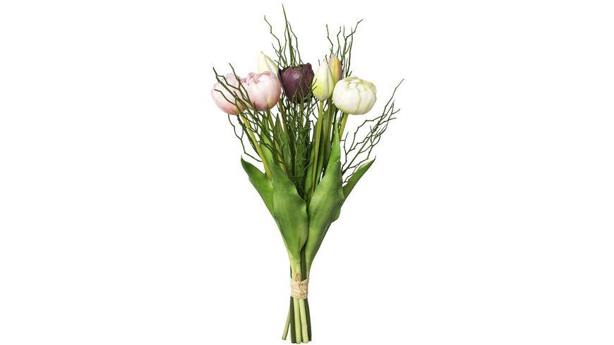 Bund gefüllte rosa Tulpen mit 3 Zweigen 43 cm