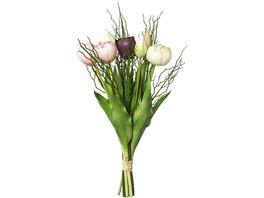 Bund gefuellte rosa Tulpen mit 3 Zweigen 43 cm