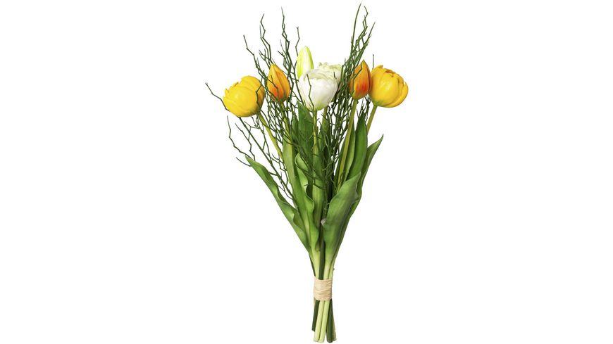 Bund gefüllte gelbe Tulpen mit 3 Zweigen 43 cm
