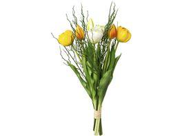 Bund gefuellte gelbe Tulpen mit 3 Zweigen 43 cm