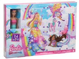 Mattel Barbie Dreamtopia Adventskalender 2020 mit Puppe blond und Puppen Zubehoer
