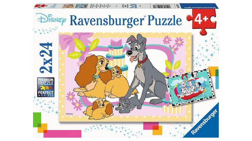 Ravensburger Puzzle - Animal Friends, Disneys liebste Welpen, 2 x 24 Teile