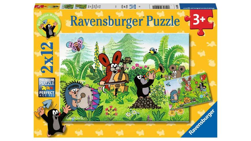 Ravensburger Puzzle - Der Maulwurf, Gartenparty mit Freunden, 2 x 12 Teile