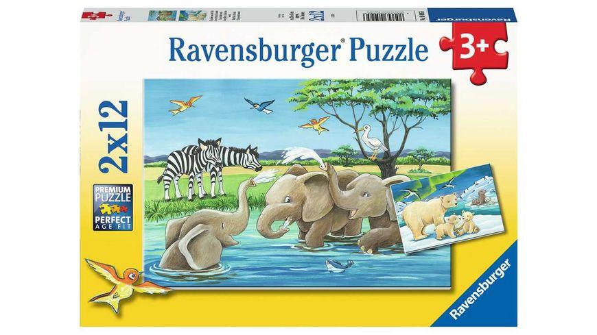 Ravensburger Puzzle - Tierkinder aus aller Welt, 2 x 12 Teile