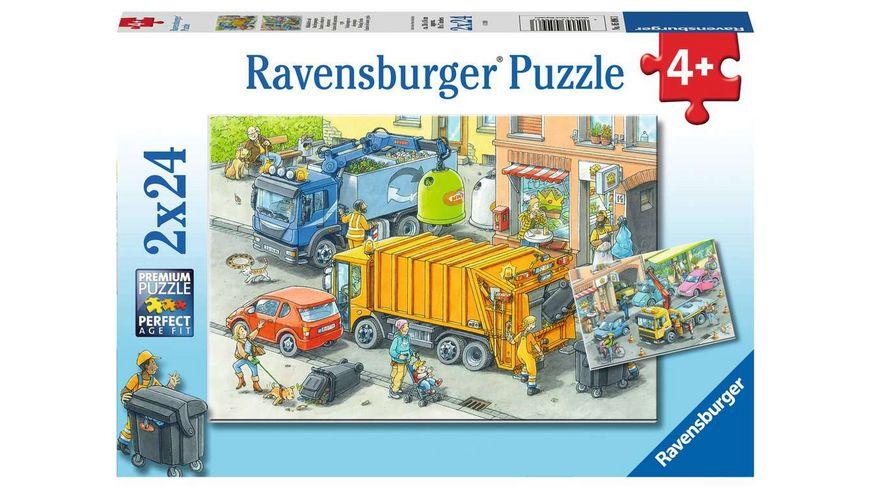 Ravensburger Puzzle - Müllabfuhr und Abschleppwagen, 2 x 24 Teile