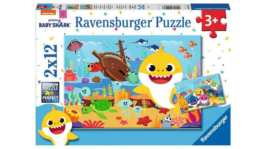 Ravensburger Puzzle - Baby Shark, Der kleine Baby Hai, 2 x 12 Teile