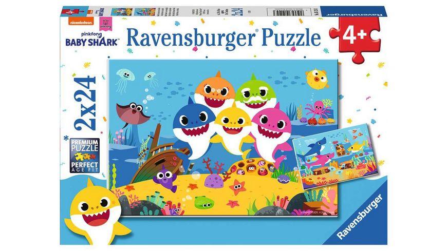 Ravensburger Puzzle - Baby Shark, Baby Hai und seine Familie, 2 x 24 Teile