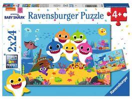 Ravensburger Puzzle Baby Shark Baby Hai und seine Familie 2 x 24 Teile