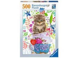 Ravensburger Puzzle Kaetzchen im Taesschen 500 Teile