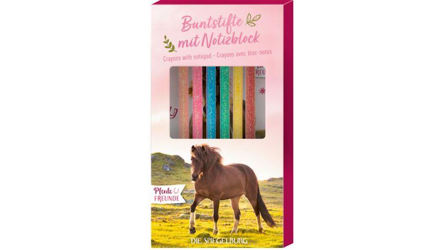 Die Spiegelburg - Buntstifte mit Notizblock Pferdefreunde