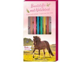 Die Spiegelburg Buntstifte mit Notizblock Pferdefreunde