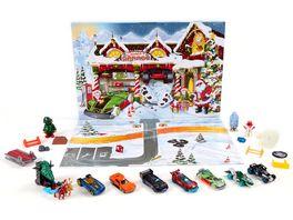Mattel Hot Wheels Adventskalender mit Ueberraschungen fuer 24 Tage Fahrzeugen und Zubehoer