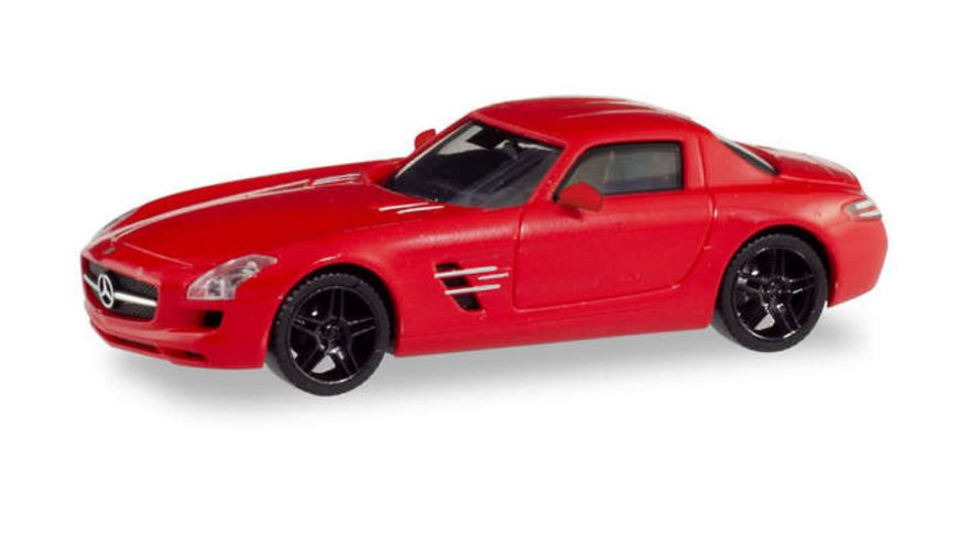 Herpa 430784 - Mercedes-Benz SLS AMG,Le Mans rot metallic mit schwarzen Felgen