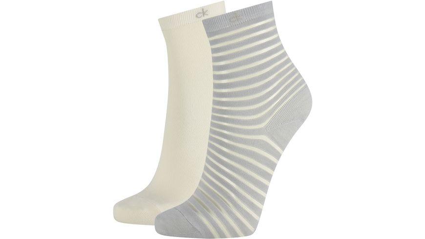Calvin Klein Damen Socken Sheer Stripe Lilly 2er Pack
