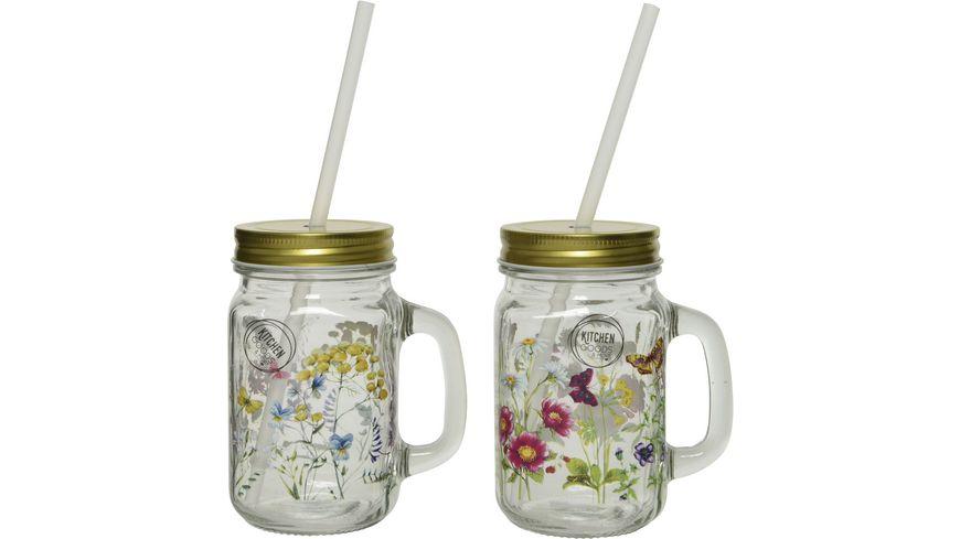 Kitchen Goods & More Trinkglas mit Strohhalm Flower