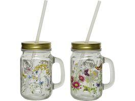 Kitchen Goods More Trinkglas mit Strohhalm Flower