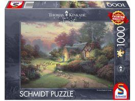 Schmidt Spiele Erwachsenenpuzzle Cottage des guten Hirten Thomas Kinkade 1000 Teile