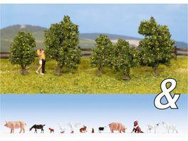 NOCH 94004 H0 Ausschmueckungs Set Tiere Bauernhof Straeucher