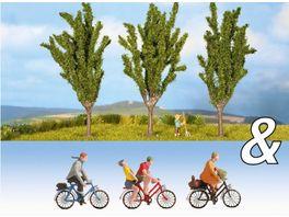 NOCH 94005 H0 Ausschmueckungs Set Fahrradfahrer Pappeln