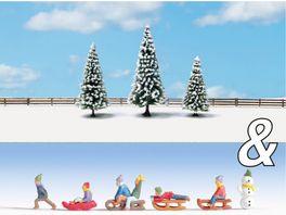NOCH 94008 H0 Ausschmueckungs Set Kinder im Schnee Schneetannen