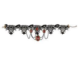 Rubies 6140839 Gothic Kette mit roten Steinchen