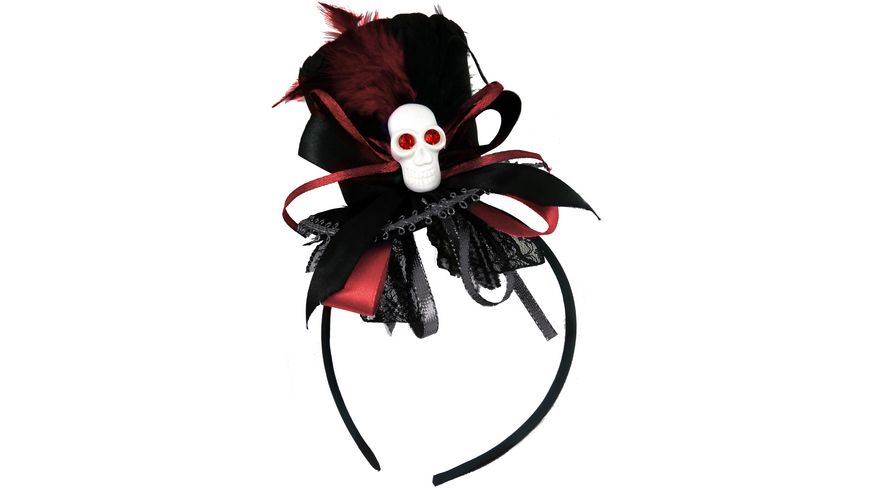 Makotex - Haarreif Minihut schwarz rot 990992119