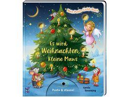 Mein Puste Licht Buch Es wird Weihnachten kleine Maus Weihnachtsbilderbuch zum Mitmachen fuer Kinder ab 18 Monaten mit Puste Licht und LED Laempchen