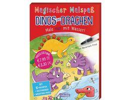 Magischer Malspass Dinos und Drachen Male nur mit Wasser Set mit Anleitungsheft Wassertank Pinsel und 10 Zauberkarten