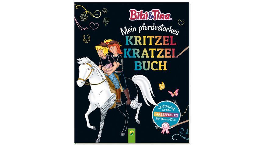 Bibi & Tina - Mein pferdestarkes Kritzel-Kratzel-Buch - Mit Bambus-Stick. Kratzmotive mit tollen Farbeffekten