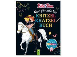 Bibi Tina Mein pferdestarkes Kritzel Kratzel Buch Mit Bambus Stick Kratzmotive mit tollen Farbeffekten