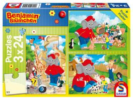 Schmidt Spiele Kinderpuzzle Benjamin Bluemchen 3x24 Teile