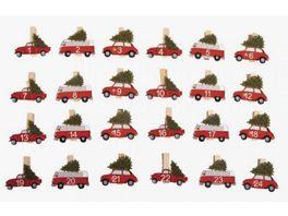 Rayher H Adventszahlen Autos 1 24 auf Klammer 4 5x3 5cm