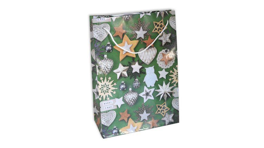 BRAUN+COMPANY Geschenktasche Weihnachten Lack 23x32x11cm mit Kordel sortiert