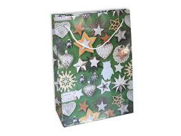 BRAUN COMPANY Geschenktasche Weihnachten Lack 23x32x11cm mit Kordel sortiert