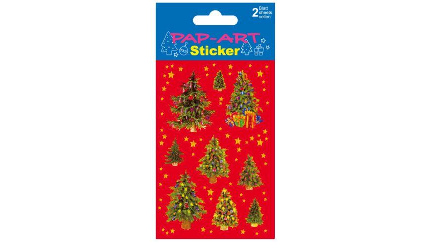 PAP ART Sticker Weihnachtsbaeume Papier Glitter 2 Blatt