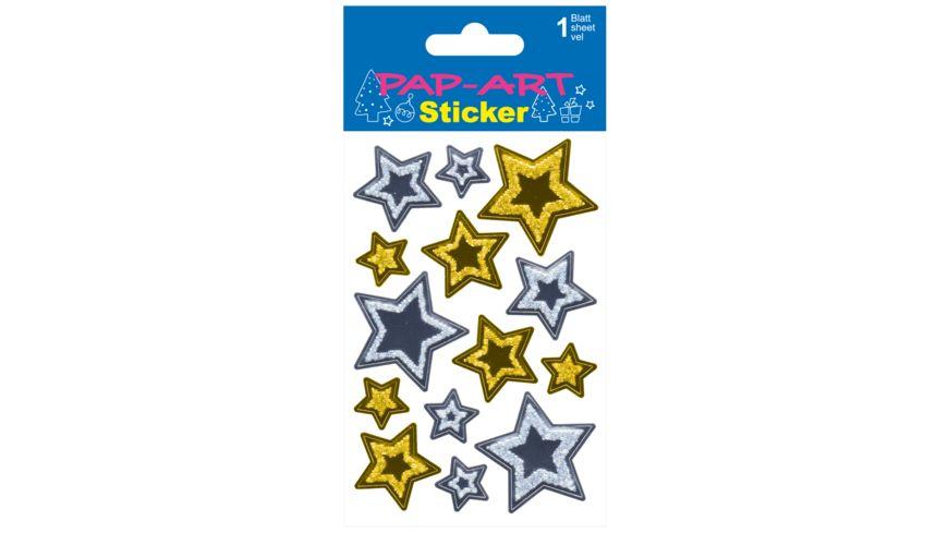 PAP ART Sticker Sterne gold silber Folie 1 Blatt