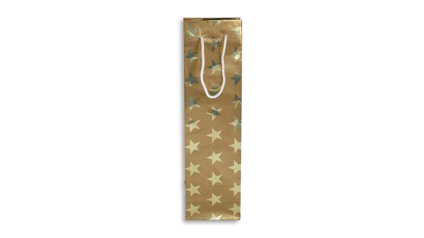 BRAUN+COMPANY Geschenktasche Weihnachten 9x36x7cm mit Kordel goldene Sterne