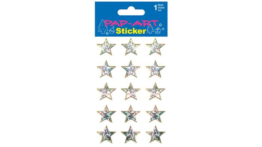 PAP ART Sticker Sterne silber sortiert Laser 1 Blatt