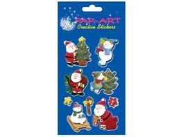 PAP ART Sticker Weihnachtsmaenner Handmade Papier 1 Blatt