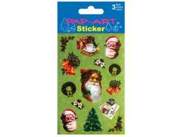 PAP ART Sticker Santa nostalgisch sortiert Papier 3 Blatt