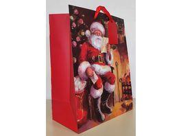 Geschenktuete Santa am Kamin gross 33x26x13 5cm