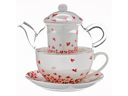 TRENDSHOP Tee Set Tea for One 4 teilig Herzen