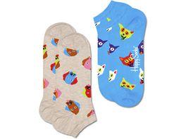 Happy Socks Unisex Sneaker Socken Dog Cat Low 2er Pack