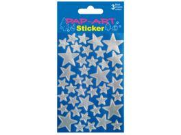 PAP ART Sticker Sterne silber Silberfolie 3 Blatt
