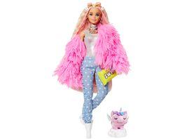 Barbie Extra Puppe blond mit flauschiger rosa Jacke inkl Haustier